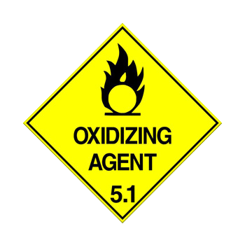 Class 5.1 Oxidising Agent Warning Sign